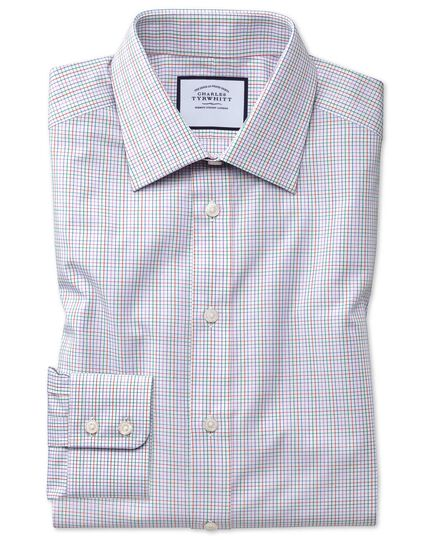 Slim fit pink multi check Egyptian cotton shirt