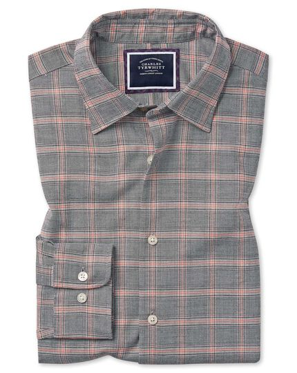 Extra slim fit cotton with TENCEL™ grey and orange Prince of Wales check shirt