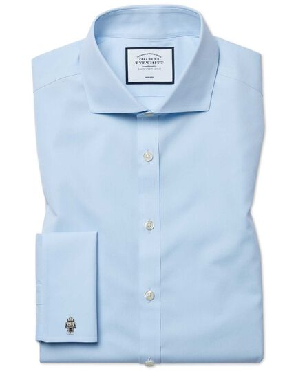 Bügelfreies Super Slim Fit Popeline-Hemd mit Haifischkragen in Himmelblau