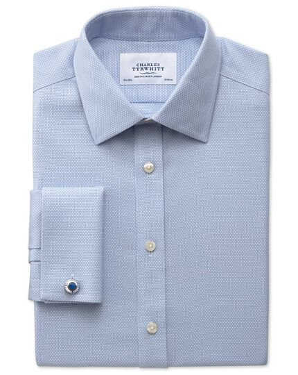 Slim fit non-iron honeycomb sky blue shirt
