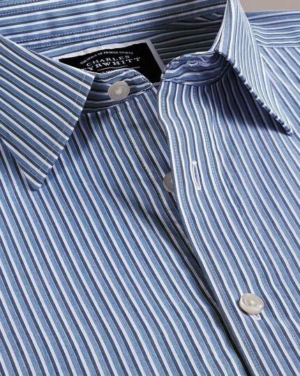Slim fit blue stripe soft washed shirt