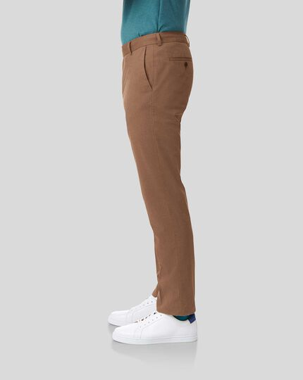 Cotton Linen Stretch Trousers - Dark Orange