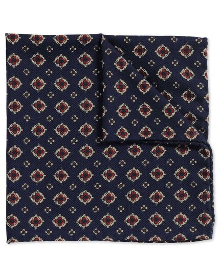 Navy and red luxury Italian printed motif pocket square