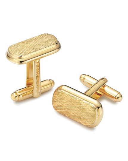 Gold plated textured oval metal cufflinks