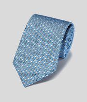 Klassische Krawatte aus Seide mit Regenschirm-Print - Himmelblau
