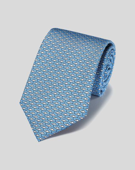 Umbrella Silk Print Tie - Sky