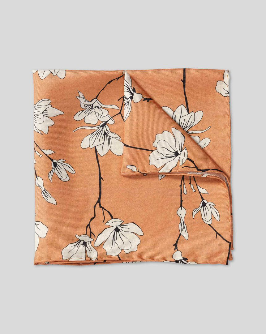 Large Floral Print Pocket Square - Peach