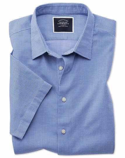 Classic fit royal blue micro check short sleeve soft texture shirt