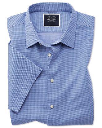 Slim fit royal blue micro check short sleeve soft texture shirt