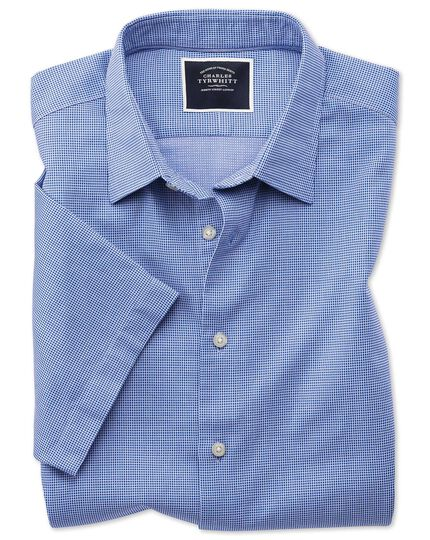 Slim fit short sleeve soft textured royal blue micro check shirt