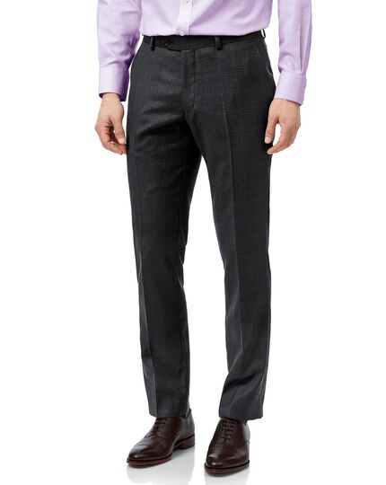 Grey slim fit birdseye travel suit trousers