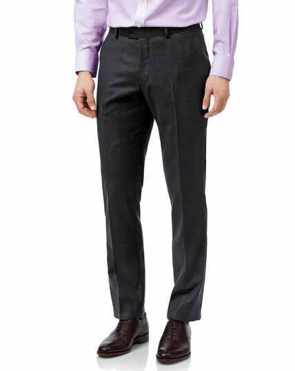 Grey slim fit birdseye travel suit pants
