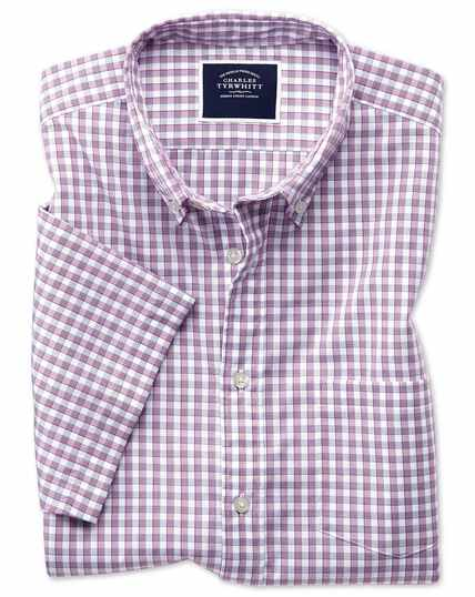 Slim fit berry short sleeve gingham soft washed non-iron Tyrwhitt Cool shirt