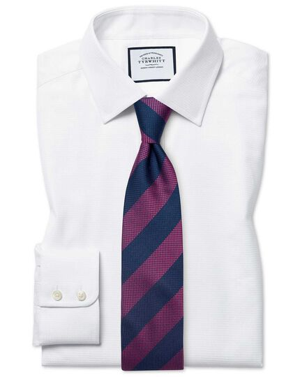 Classic fit Egyptian cotton chevron white shirt