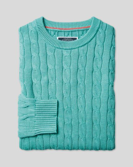 Pima Cotton Cable Sweater - Aqua