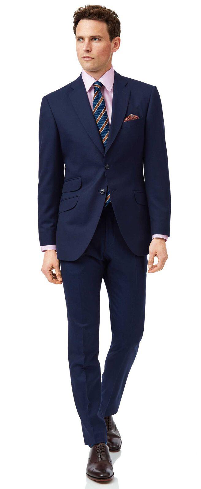 Blue slim fit British luxury suit