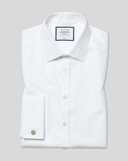 Classic Collar Non-Iron Dash Weave Shirt - White