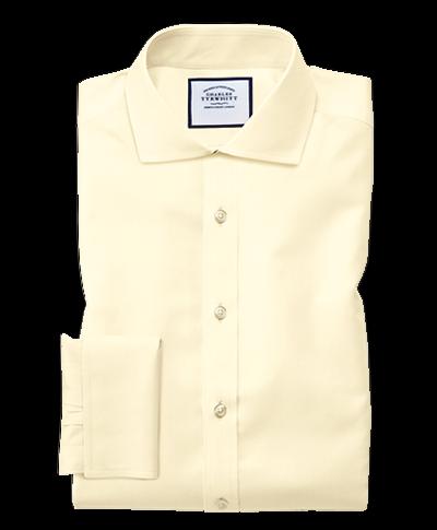 Chemise jaune en twill slim fit à col cutaway sans repassage