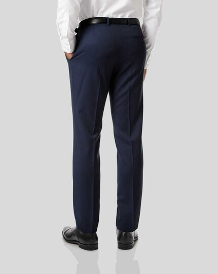 Stripe Birdseye Travel Suit Trousers - Navy