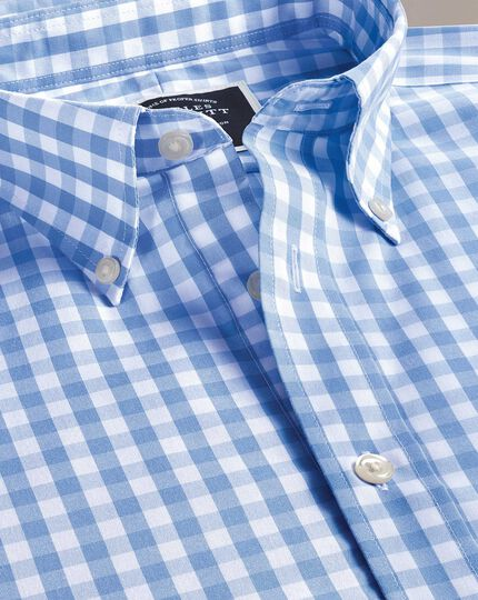 Slim fit button-down non-iron poplin short sleeve sky blue gingham shirt
