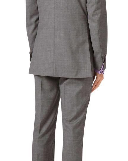 Veste de costume argent en tissu italien slim fit à effet quadrillé