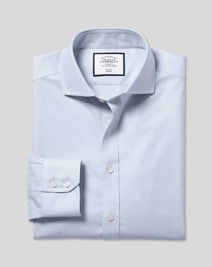Cutaway Collar Non-Iron Twill Shirt - Silver