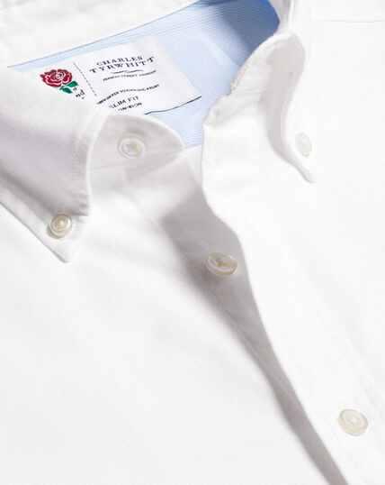 Vorgewaschenes England Rugby Oxfordhemd mit Button-down-Kragen - Weiß