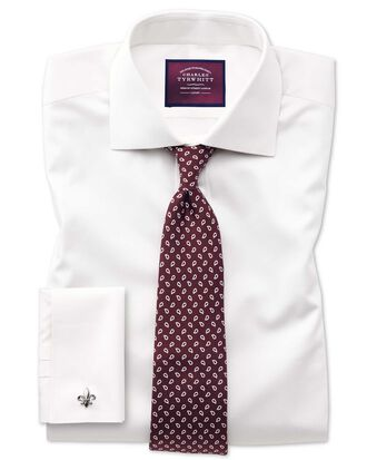 Slim fit semi-cutaway luxury cotton silk off-white shirt