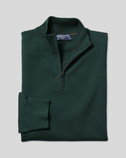 Merino Zip Neck Sweater - Forest Green