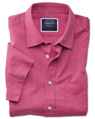 Slim fit cotton linen short sleeve bright pink plain shirt