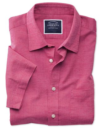Slim fit cotton linen short sleeve bright pink plain shirt