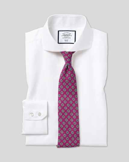 Extreme Spread Collar Non-Iron Twill Shirt - White