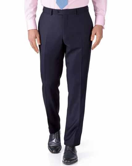 Ink blue slim fit birdseye travel suit pants