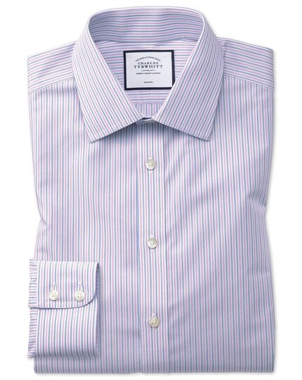 Slim fit non-iron lilac and blue multi stripe shirt