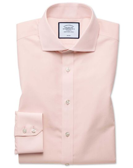 Extra slim fit non-iron Tyrwhitt Cool poplin peach shirt