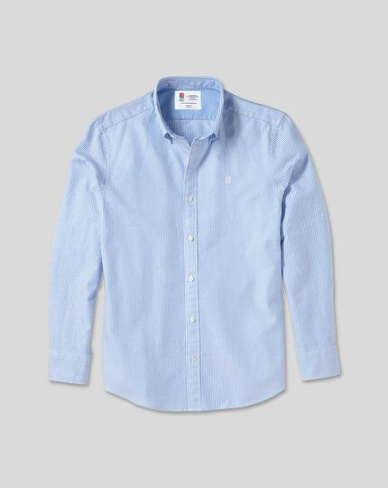 England Rugby Button-Down Collar Washed Oxford Stripe Shirt - Blue & White