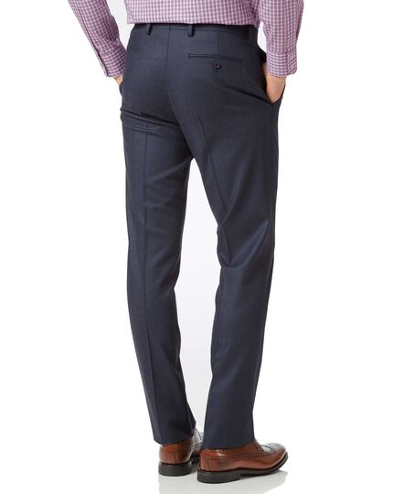 Slim Fit Business-Hose aus Flanell in Airforceblau