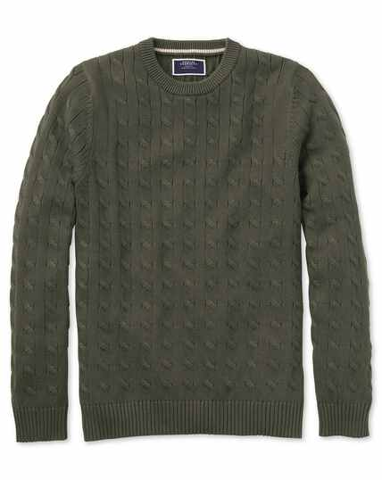 Olive Pima cotton cable crew neck jumper
