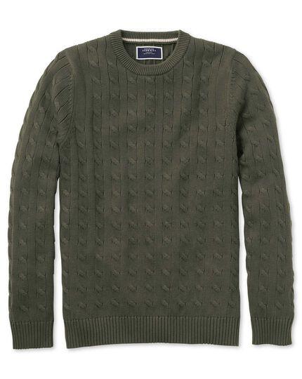 Olive Pima cotton cable crew neck sweater