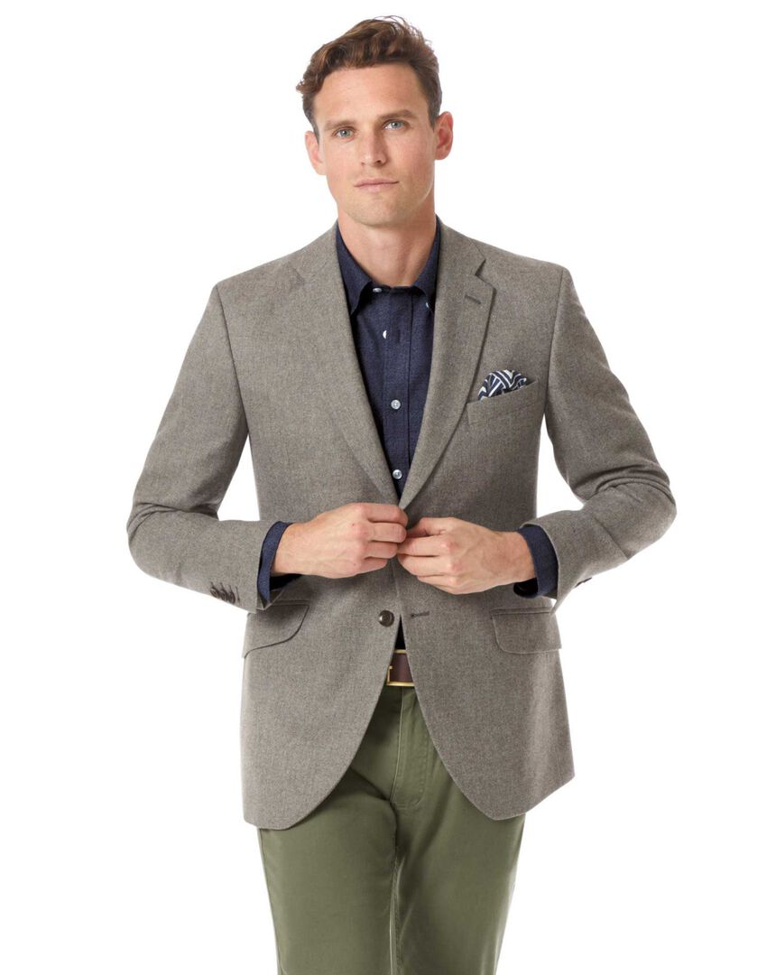 Slim fit British wool with cashmere jacket in silver