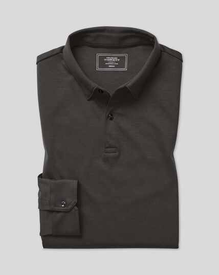 Smart Long Sleeve Jersey Polo - Charcoal