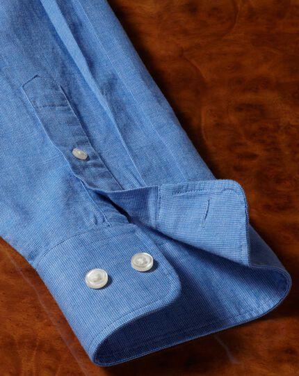 Classic fit cotton linen bright blue plain shirt