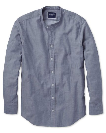 Slim fit double face collarless chambray shirt