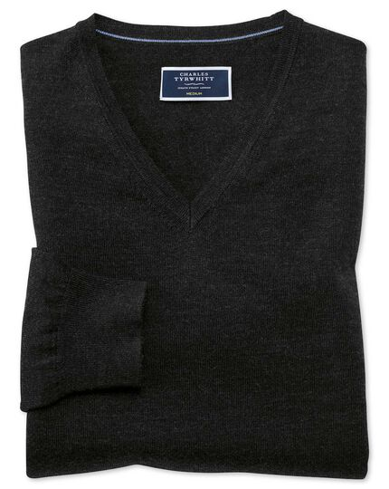 Dark charcoal merino v-neck jumper