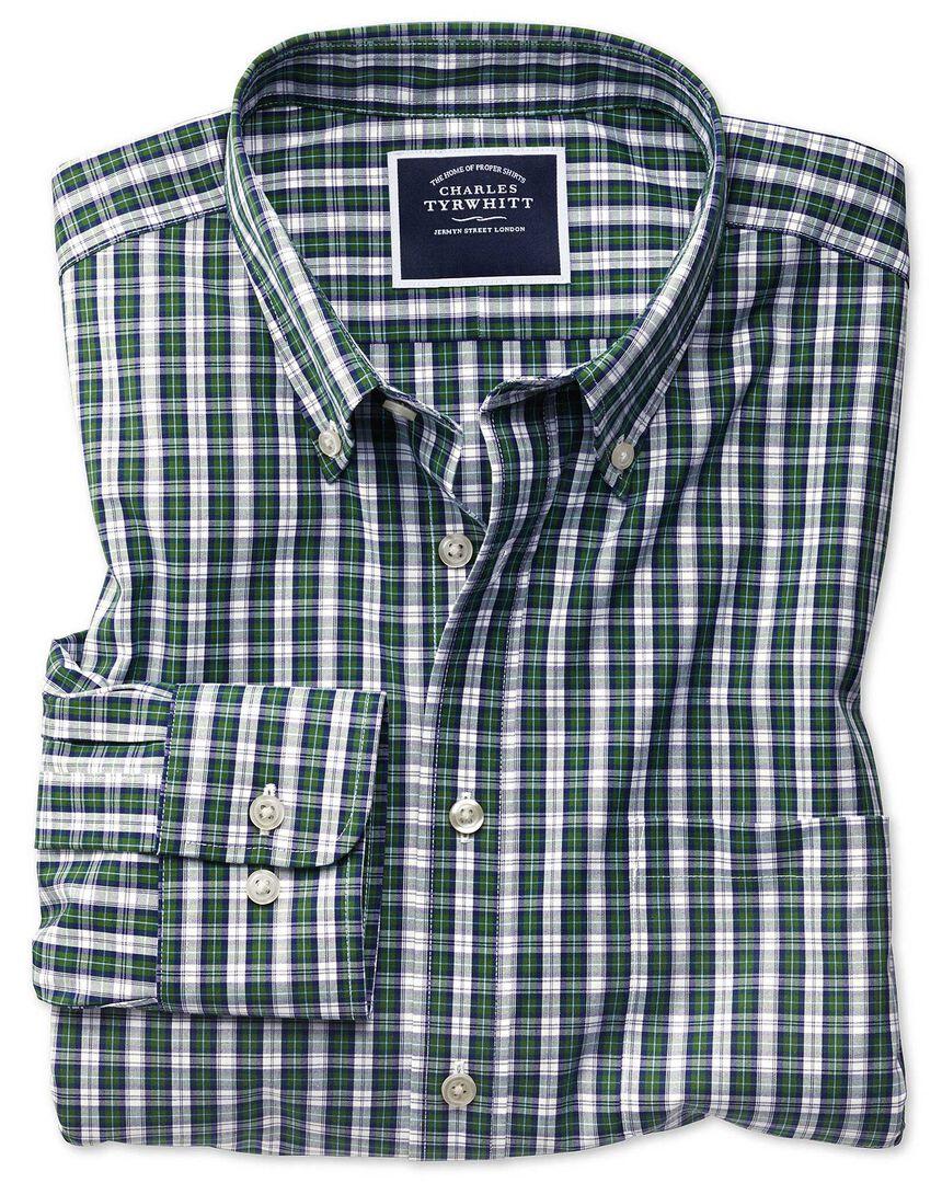 Slim fit non-iron green and navy tartan check shirt