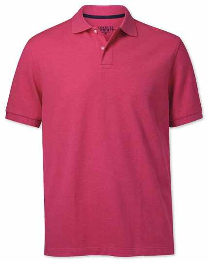 Bright pink melange pique polo