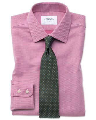 Extra slim fit non-iron square weave magenta shirt