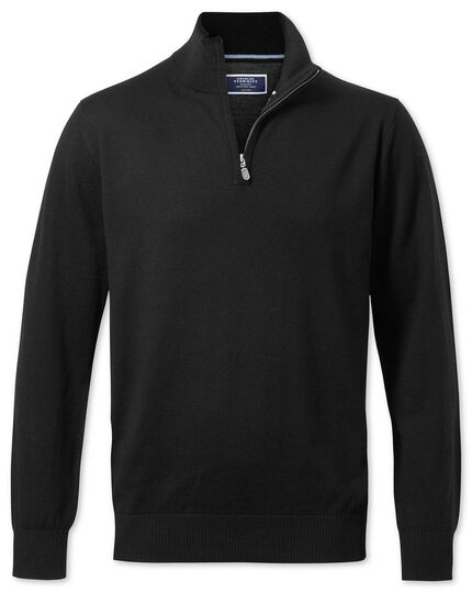 Black merino wool zip neck sweater