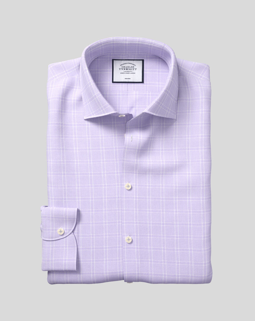 Business Casual Collar Non-Iron Natural Stretch Check Shirt - Lilac