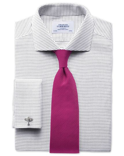 Slim fit cutaway collar non-iron white and black shirt